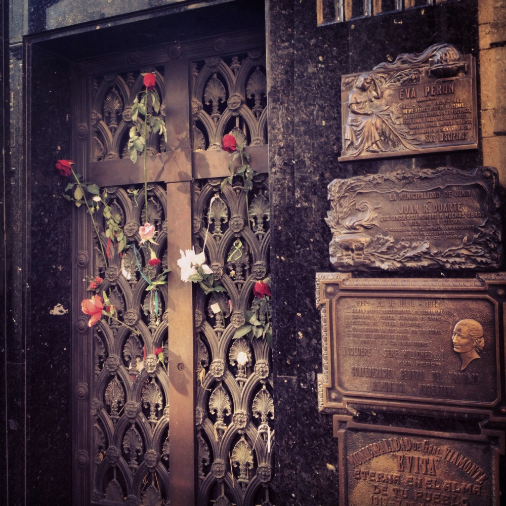 Evita Peron's humble tomb compared to the others