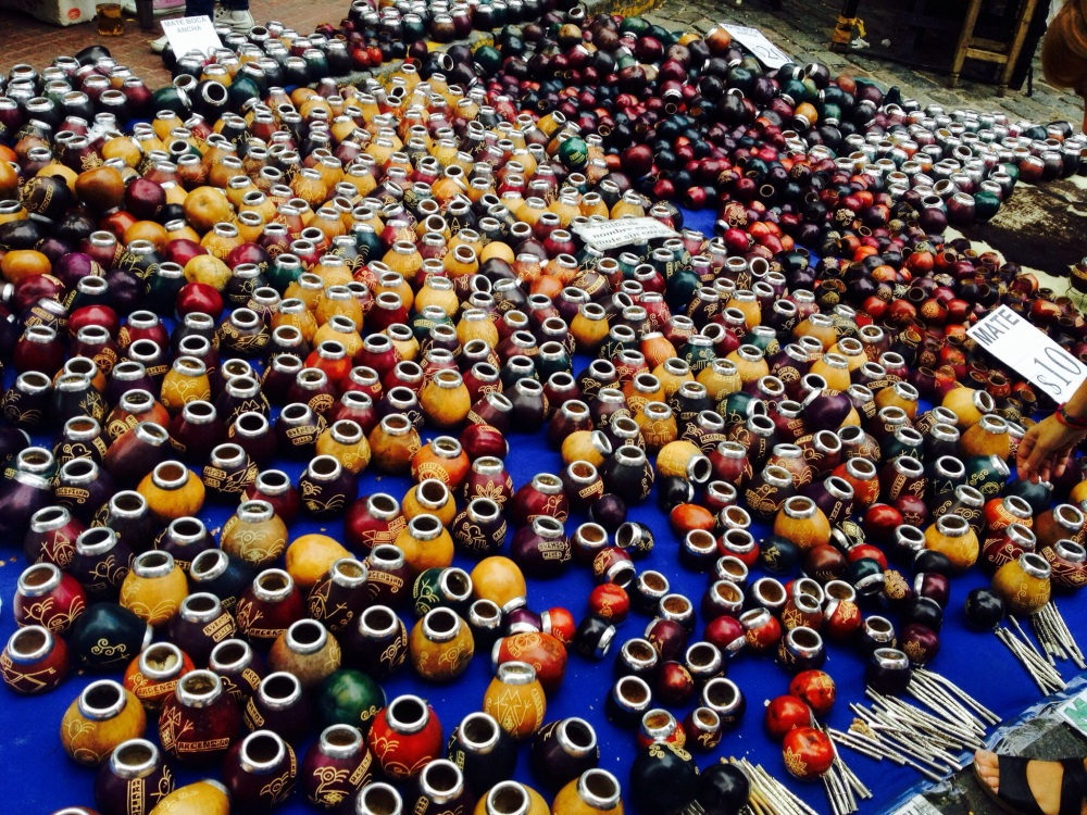 Various mate cups in the market  (the caffeine infused drink that is consumed by Argentines and Uruguayans as a daily ritual)