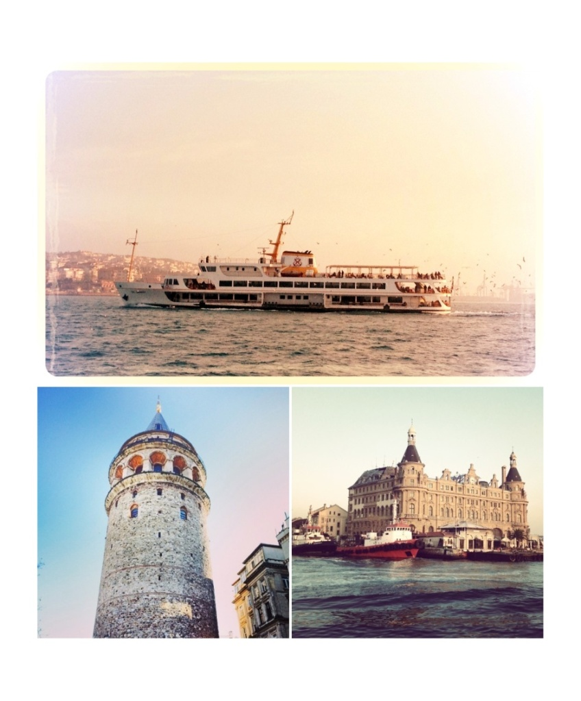 Ships transporting people between the Asian and European sides of Istanbul. Galata Tower and Haydarpasa Port (on the Asian side)