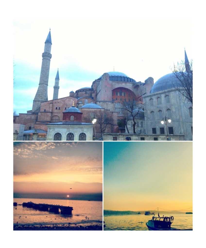 Blue Mosque, one of the many mosques in the city. Sunset in the Marmara Sea (view from the Asian side)