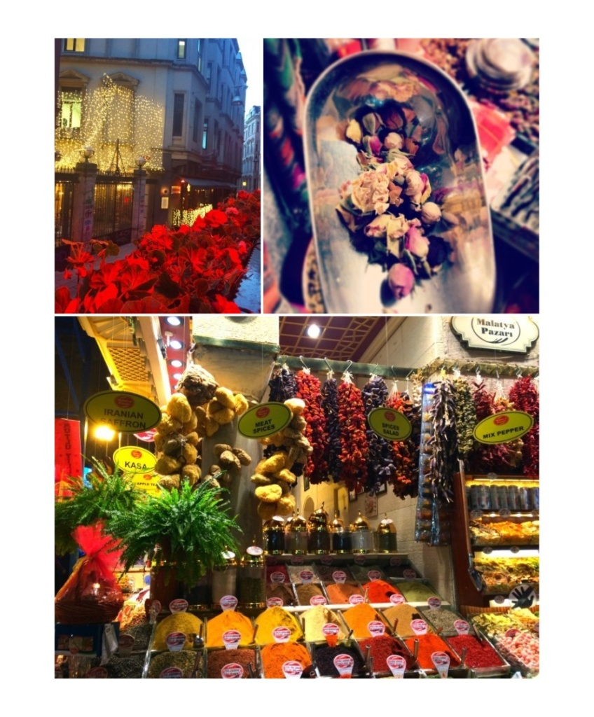 Colorful spices, teas, traditional souvenirs and turkish delight displayed @ Spice Bazaar