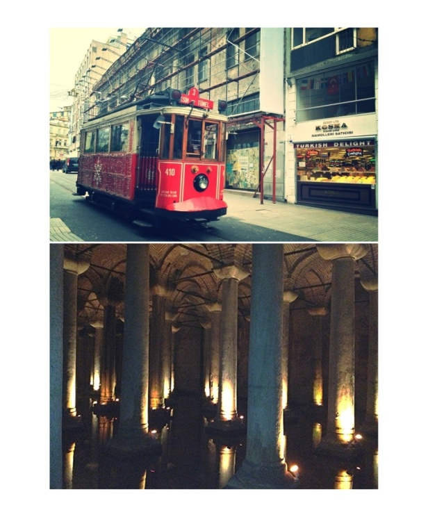 Old tramway in Beyoglu/Taksim and Basilica Cistern (Sunken Palace) , the largest of several hundred ancient cisterns that lie beneath Istanbul. It was built in the 6th century.