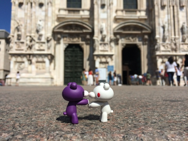 Aslita & Bandita embracing each other in front of one of the largest cathedrals in the world, which took over 600 years to complete.