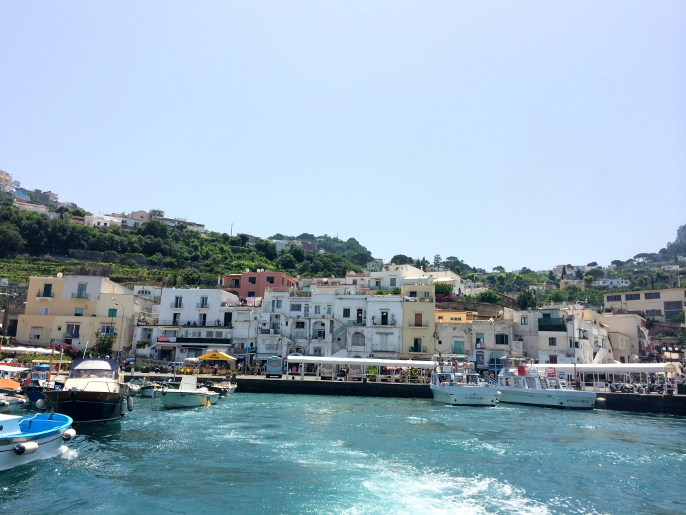 Leaving Capri behind for our grotto tour