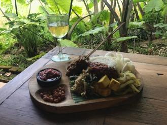 Nasi Campur + local white wine at Atman