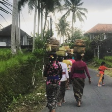 Women of the village are walking to their gathering