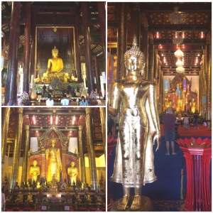 Lots of shiny Buddha statues in the temples