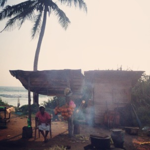 Coconut sellers on roadside