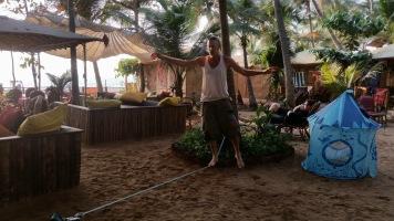 Alon slacklining at Agonda beach