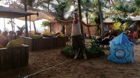 Alon slacklining at Agonda beach