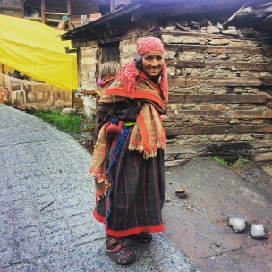 Traditional Himalayan woman and her baby