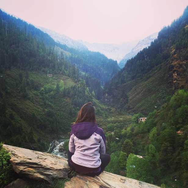 The view of the valley in Himalayas